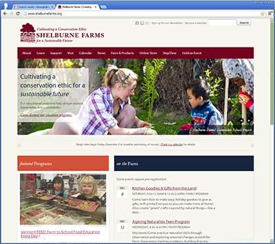 Shelburne Farms new website