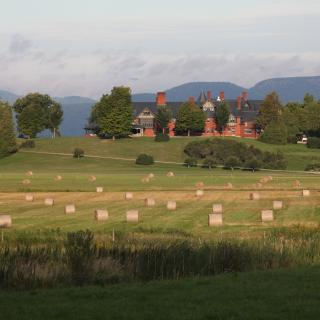 Round bales in front of Inn. Photo by Marshall Webb.